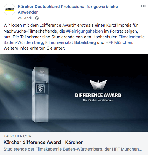 Kärcher Kurzfilmpreis Difference Award